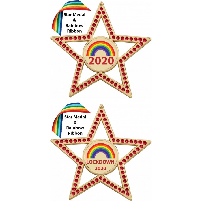 LOCKDOWN PURPLE STAR MEDAL & RAINBOW RIBBON  - 75MM - GOLD, SILVER OR BRONZE - FREE POSTAGE