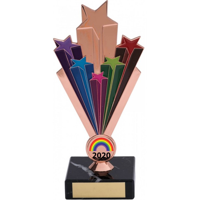 RAINBOW METAL STARBURST COPPER TROPHY - 7'' STARBURST METAL TROPHY