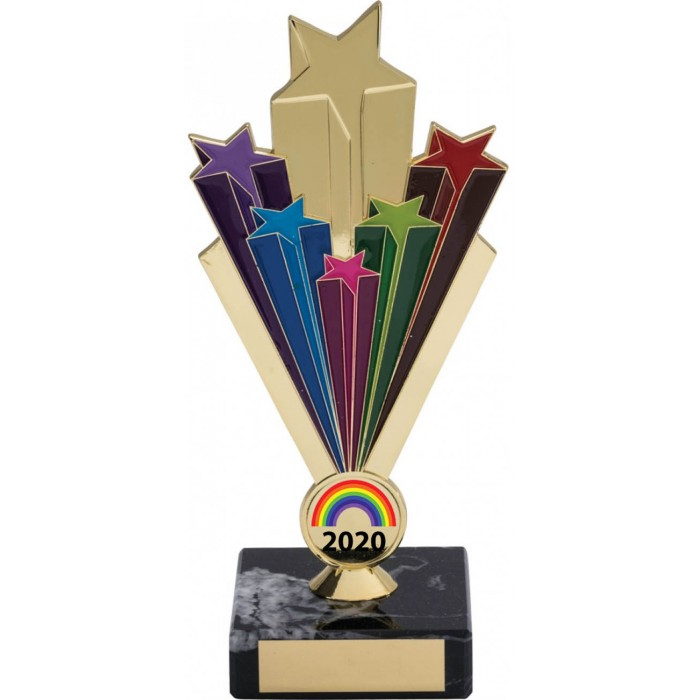 RAINBOW METAL STARBURST GOLD TROPHY - 7'' STARBURST METAL TROPHY