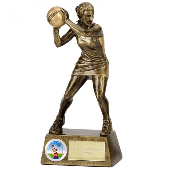 PINNACLE NETBALL RESIN TROPHY - 2 SIZES (6'' & 7.25'')