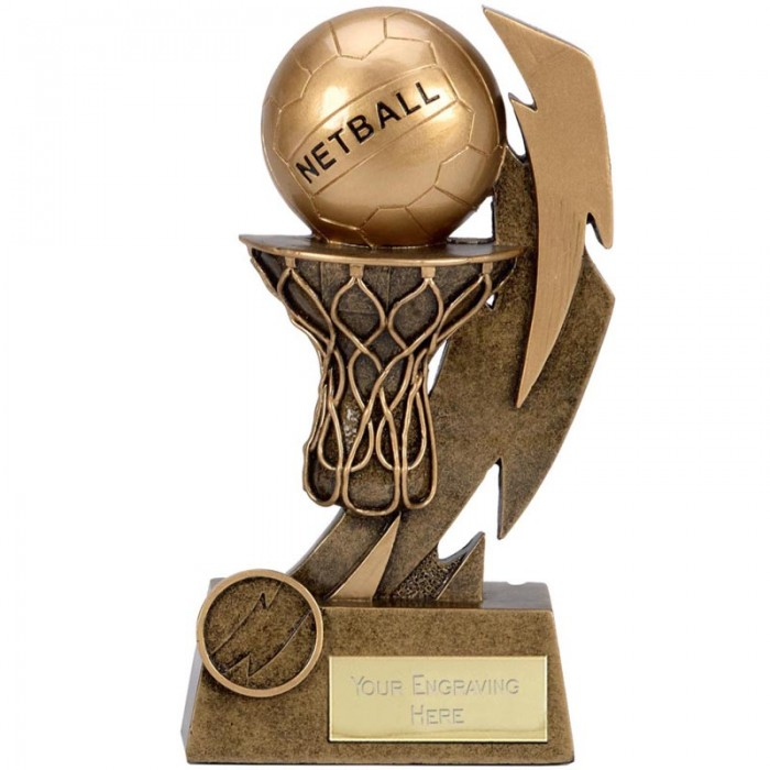 "GOLD FLASH NETBALL RESIN TROPHY - 6 1/8 "" (15.5cm)"