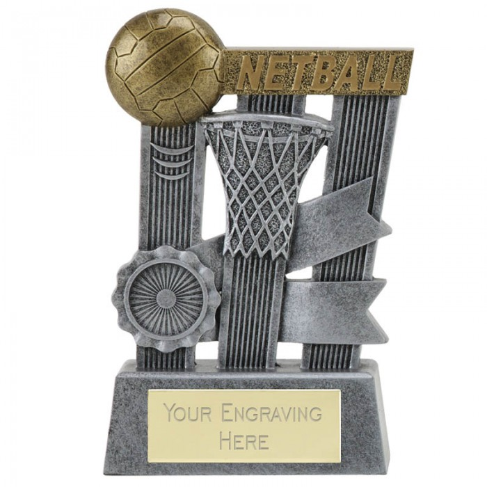 "RIBBON NETBALL RESIN TROPHY - 3 7/8"" (10cm)"