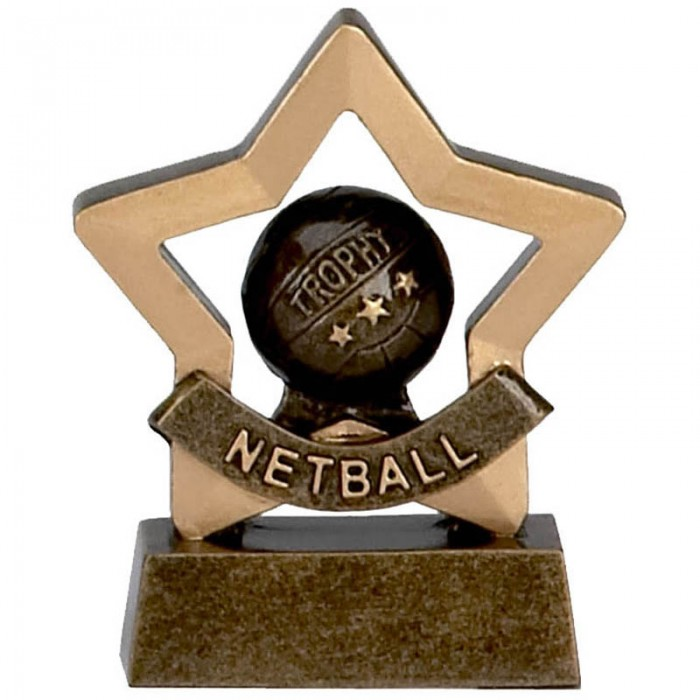 NETBALL TROPHY - NETBALL GOLD MINI STAR RESIN - 3.25''