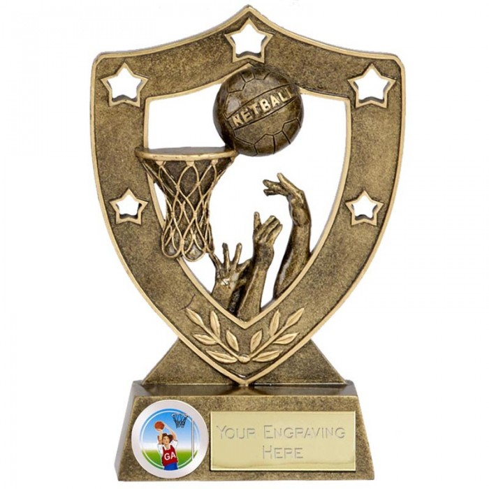 NETBALL SHIELD RESIN TROPHY - 2 SIZES (5'' & 6'')