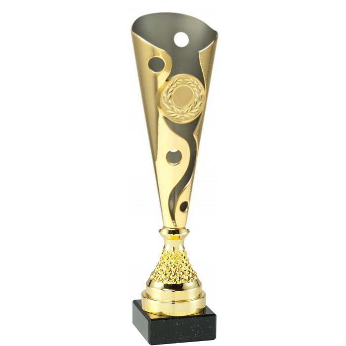 GOLD CONICAL PLASTIC TROPHY CUP - WITH CHOICE OF SPORTS CENTRE