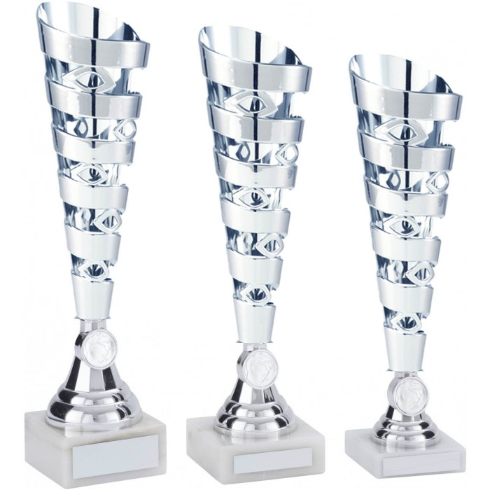 SILVER CONICAL PLASTIC TROPHY CUP - WITH CHOICE OF SPORTS CENTRE