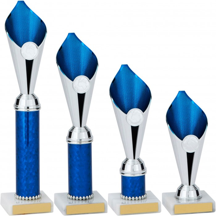 BLUE & SILVER FLAME COLUMN TROPHY PLASTIC CUP - WITH CHOICE OF SPORTS CENTRE