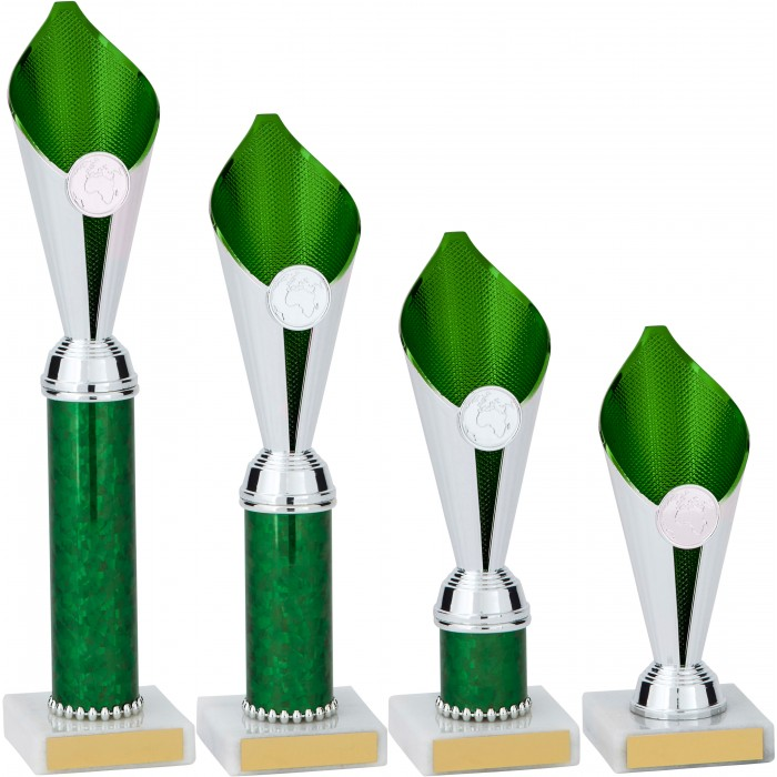 GREEN & SILVER FLAME COLUMN TROPHY PLASTIC CUP - WITH CHOICE OF SPORTS CENTRE
