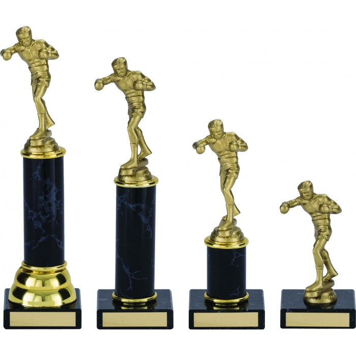 BOXING FIGURE PLASTIC TROPHY - WITH CHOICE OF SPORTS CENTRE - 4 SIZES