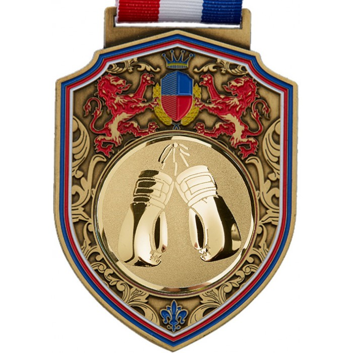 GOLD 100MM THAI BOXING MEDAL & RIBBON