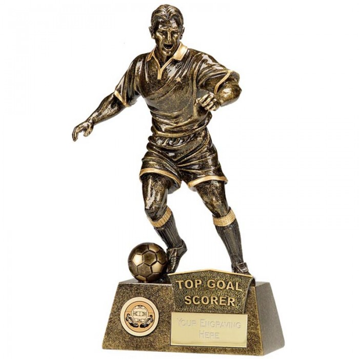 TOP GOAL SCORER FOOTBALL FIGURE RESIN TROPHY 8.75""
