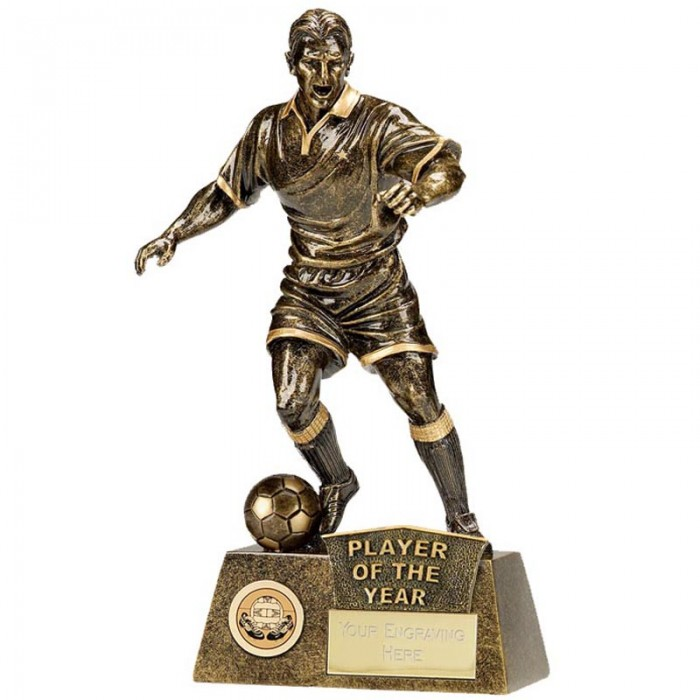 PLAYER OF THE YEAR FOOTBALL FIGURE RESIN TROPHY 8.75""