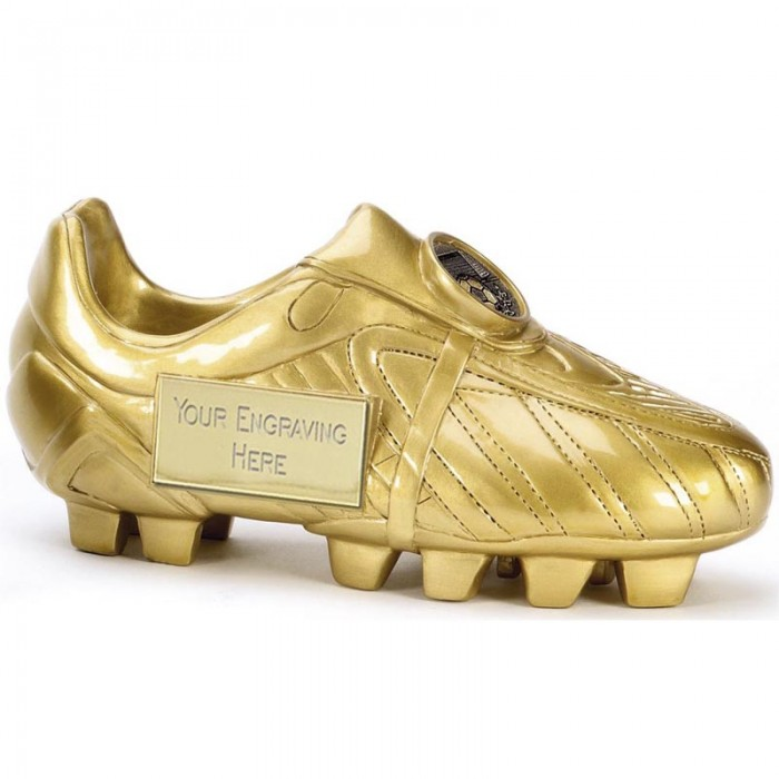 GOLD FOOTBALL BOOT RESIN TROPHY - 5.75''
