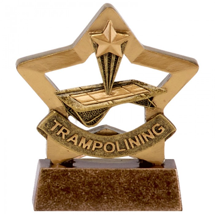 TRAMPOLINING TROPHY - GOLD MINI STAR RESIN - 3.25''