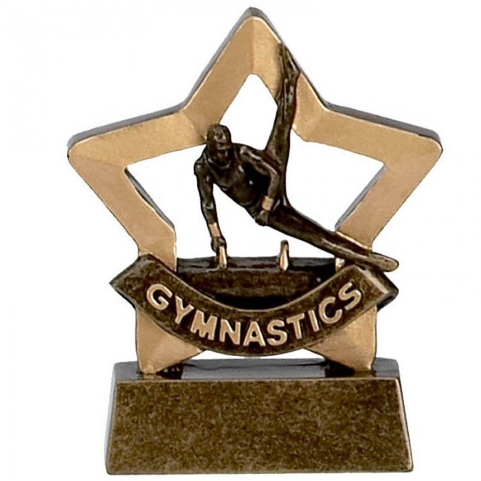 GYMNASTICS TROPHY - MALE GOLD MINI STAR RESIN - 3.25''