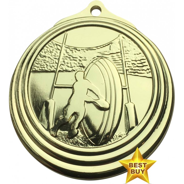 STAR BUY - 50MM GOLD RUGBY MEDAL