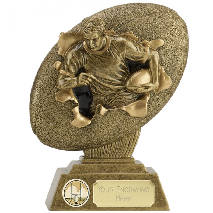 XPLODE  2D RESIN RUGBY BALL TROPHY - 2 SIZES - AVAILABLE UP TO 7''