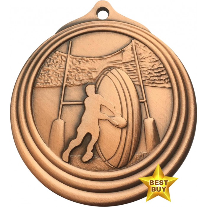 STAR BUY - 50MM BRONZE RUGBY MEDAL