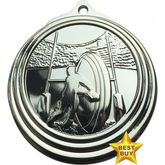 STAR BUY - 50MM SILVER RUGBY MEDAL