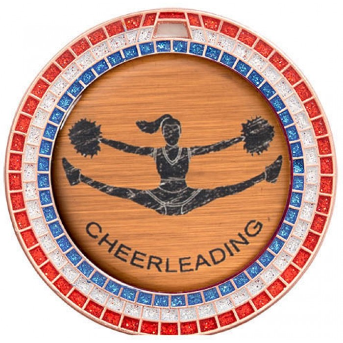 CHEERLEADING RED,WHITE & BLUE GEM MEDAL - 70MM  - BRONZE