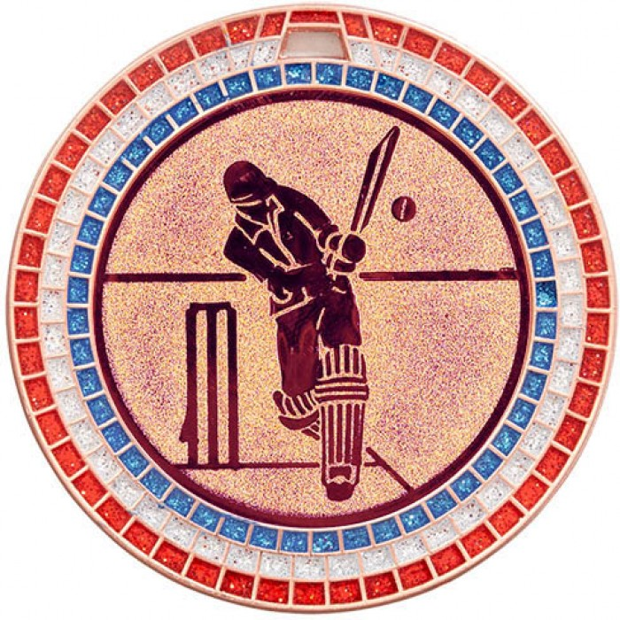 BRONZE  70MM CRICKET MEDAL - GEM STONE