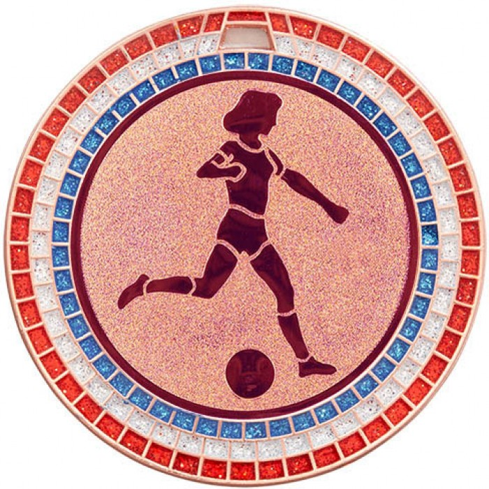 70MM WOMEN'S FOOTBALL RED,WHITE AND BLUE GEM MEDAL - BRONZE