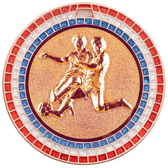 70MM MALE FOOTBALL RWB GEM MEDAL - BRONZE