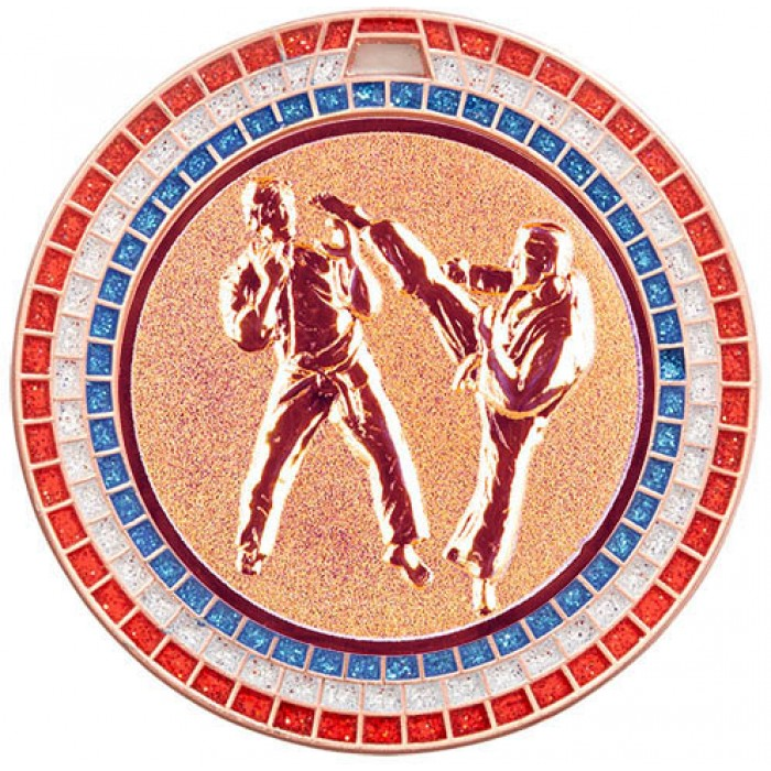 70MM KARATE MEDAL GEM EFFECT - BRONZE
