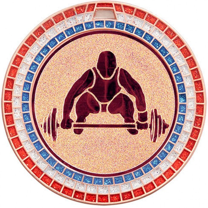 70MM WEIGHTLIFTING MEDAL - GEMSTONE - BRONZE