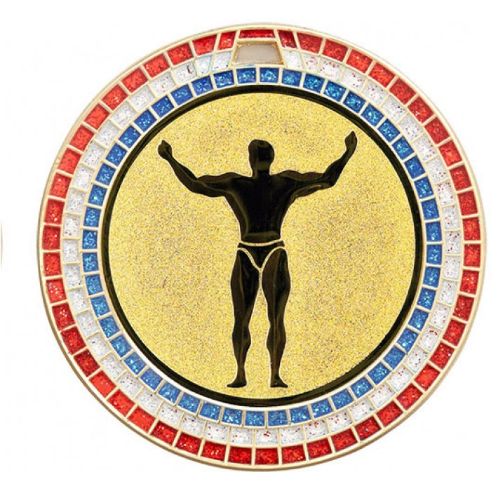 70MM BODYBUILDING MEDAL - GEMSTONE - GOLD