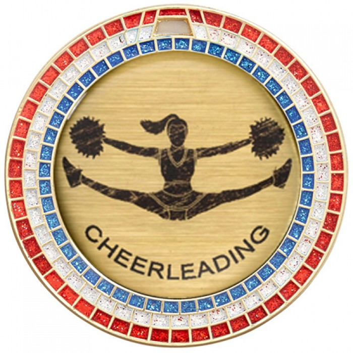 CHEERLEADING RED,WHITE & BLUE GEM MEDAL - 70MM -GOLD