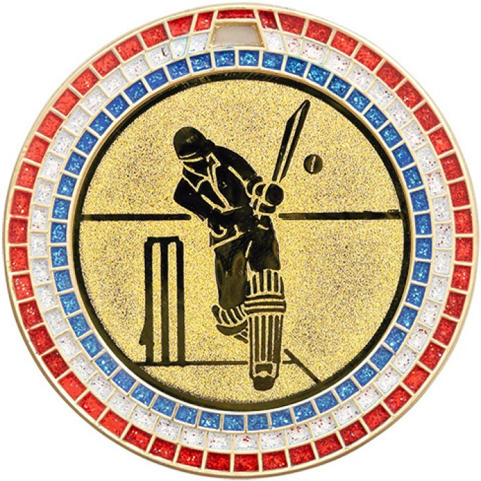 GOLD 70MM CRICKET MEDAL - GEM STONE