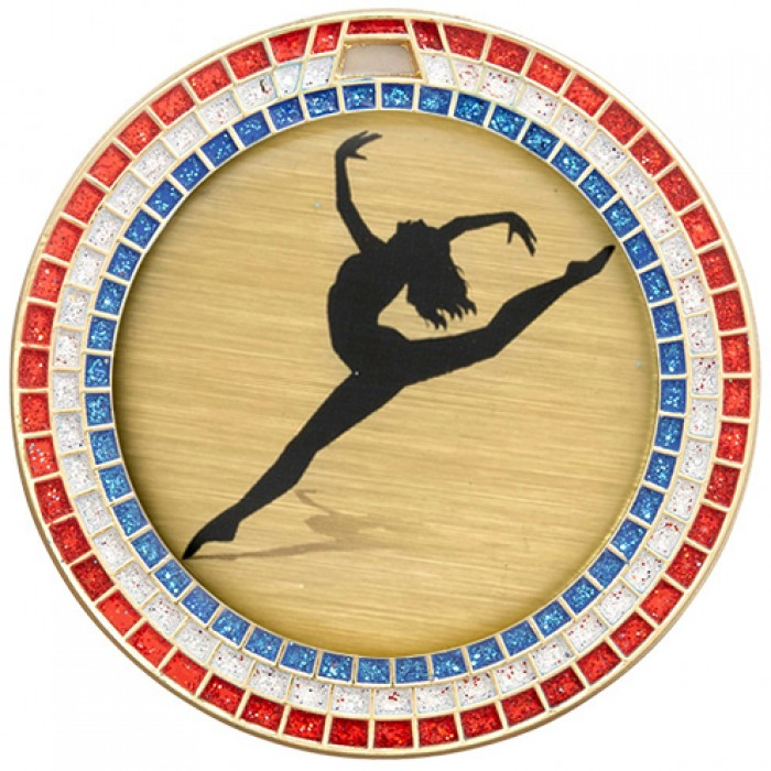 DANCE RED,WHITE & BLUE GEM MEDAL - 70MM - GOLD