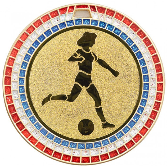 70MM WOMEN'S FOOTBALL,  RED,WHITE AND BLUE GEM MEDAL - GOLD