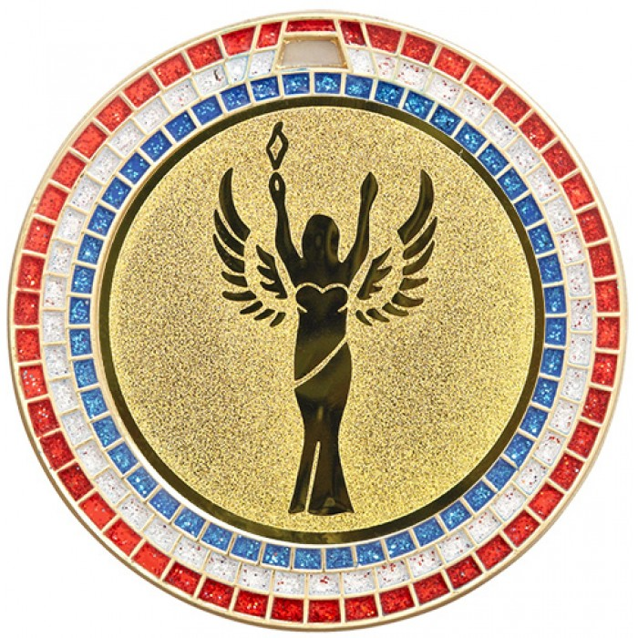 VICTORY STATUE RED,WHITE AND BLUE GEM MEDAL - 70MM -GOLD