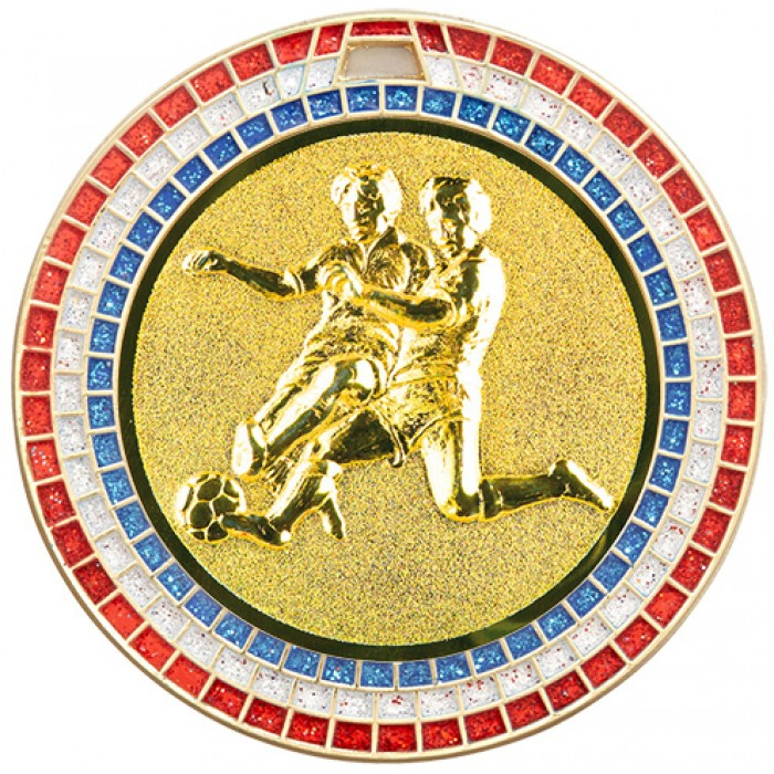 70MM MALE FOOTBALL RED, WHITE AND BLUE GEM MEDAL - GOLD