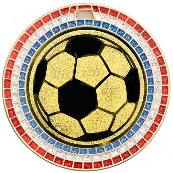 70MM FOOTBALL RWB GEM MEDAL - GOLD