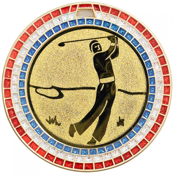 70MM GOLF GEM MEDAL - GOLD