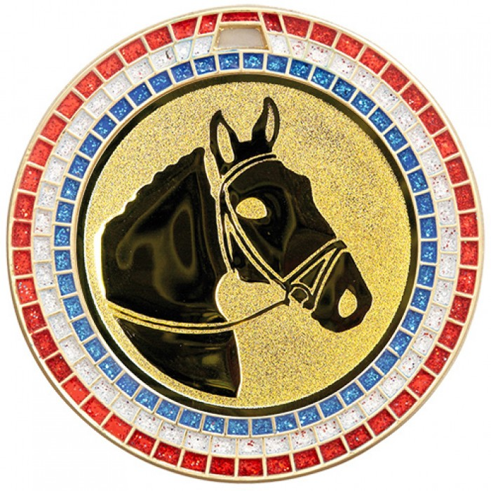 70MM HORSE RIDING RWB GEM MEDAL - GOLD