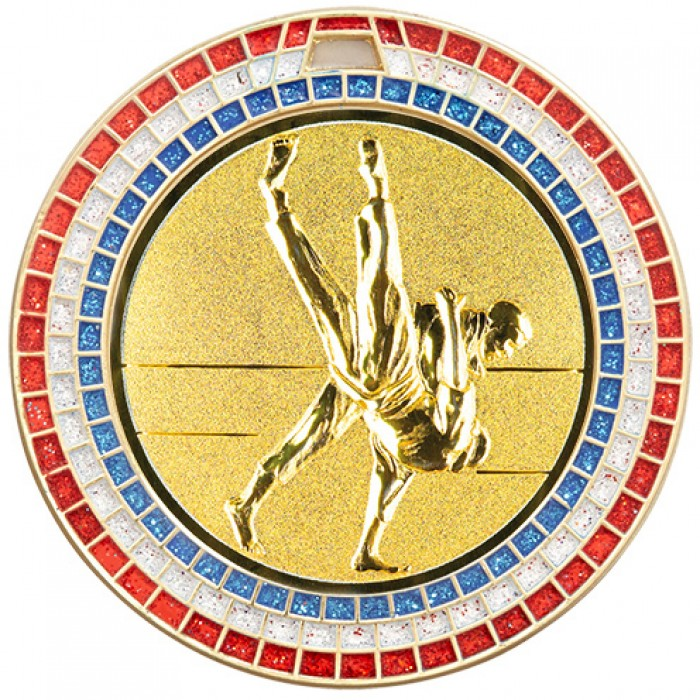 70MM GOLD JUDO MEDAL - GEMSTONE EFFECT
