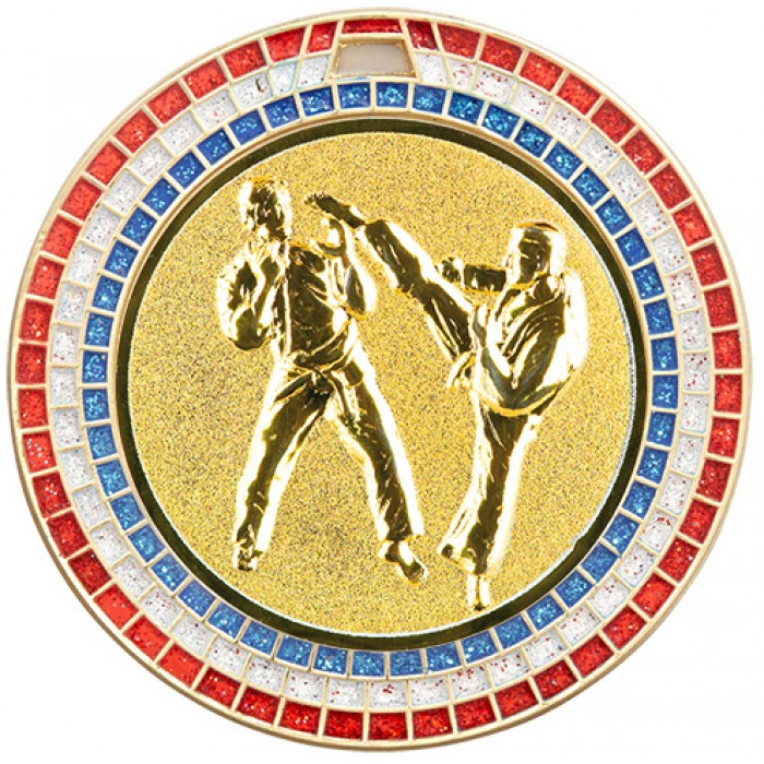70MM KARATE MEDAL GEM EFFECT  - GOLD