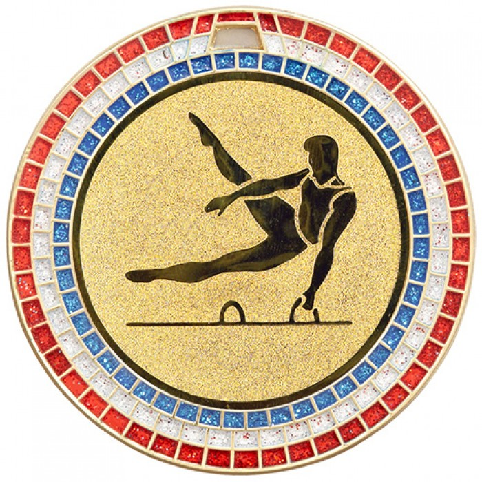 GEMSTONE MALE GYMNASTICS MEDAL - 70MM -GOLD
