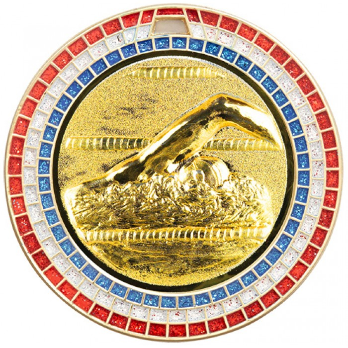 70MM SWIMMING RWB GEM MEDAL - GOLD