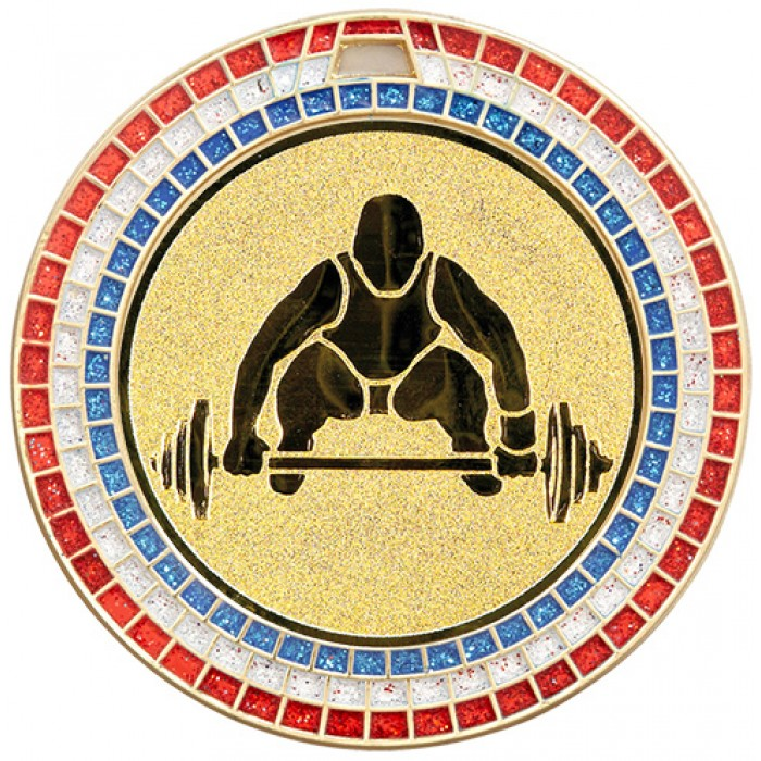 70MM WEIGHTLIFTING MEDAL - GEMSTONE - GOLD