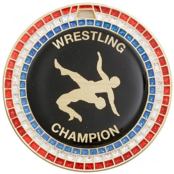 70MM GOLD WRESTLING MEDAL - GEMSTONE EFFECT