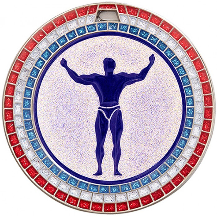 70MM BODYBUILDING MEDAL - GEMSTONE - SILVER
