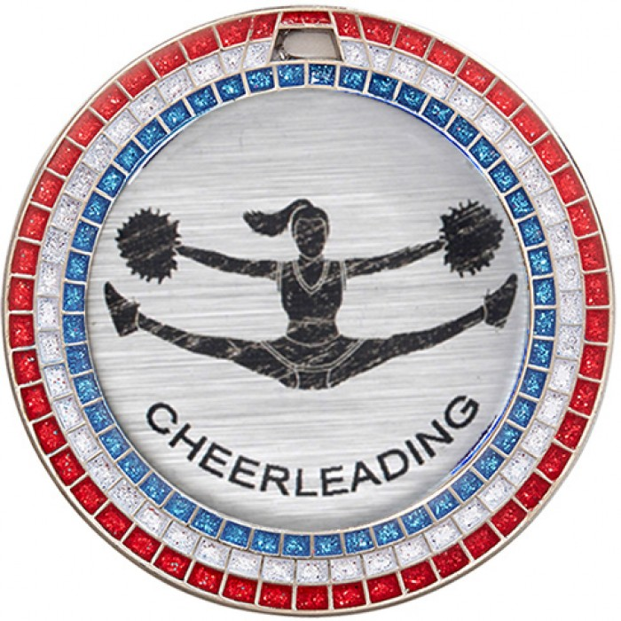 CHEERLEADING RED,WHITE & BLUE GEM MEDAL - 70MM - SILVER