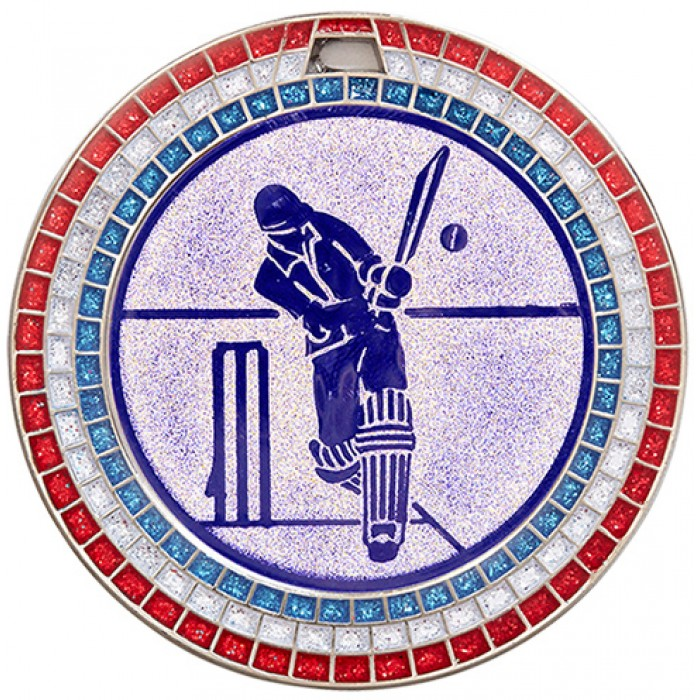 SILVER 70MM CRICKET MEDAL- GEM STONE