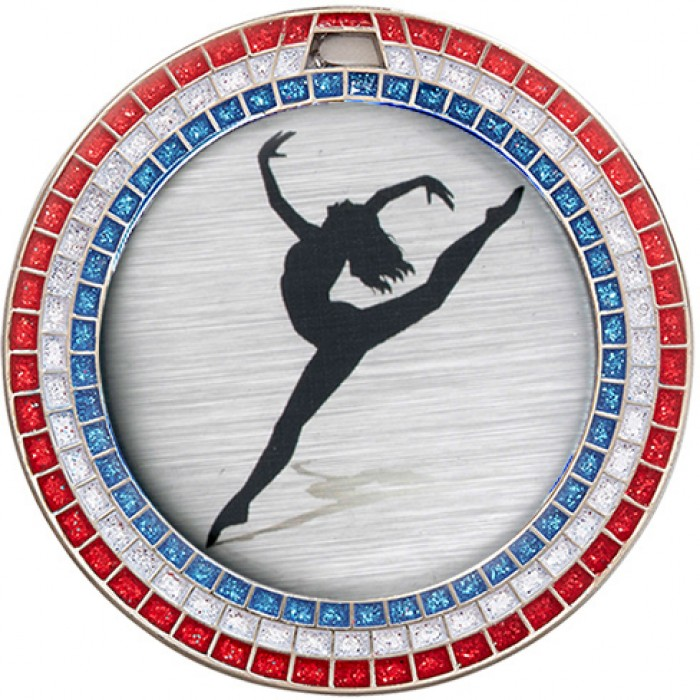 DANCE RED,WHITE & BLUE GEM MEDAL - 70MM - SILVER
