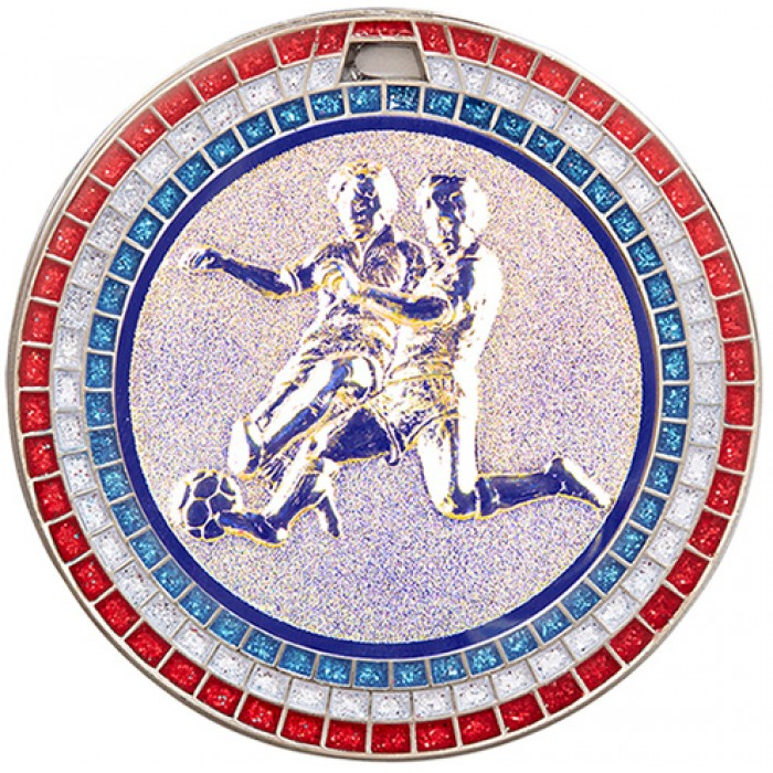 70MM MALE FOOTBALL RWB GEM MEDAL - SILVER
